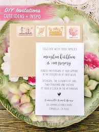 Diy Rustic Wedding Invitation Ideas Barn Country Pink Vintage Stamps