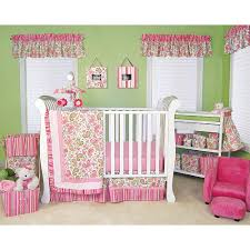 Trend Lab Paisley Park 6 Piece Crib Bedding Set Pink Green