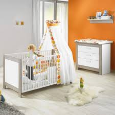 chambre bébé duo marléne lit et commode cérusé blanc de geuther