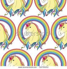 Unicorn With Rainbow Seamless Pattern Fairytale Wallpaper Textile Print