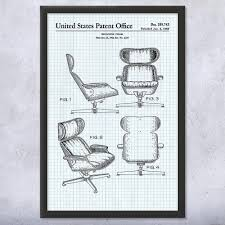 Eames Lounge Chair Framed Print   Furniture Art Decor   Patent Earth Classic Eames Lounge Chair Ottoman White Leather Walnut The Style With Vintage Replica Dark Tan Chicicat Fabric Fniture Room Design Lounche Awesome More Finest Ea Original Sold Office Ideas Vitra Snow Chrome Base Sothebys Home Designer George Mulhauser Mr Black Armchair Porn Dwell Framed Print Art Decor Patent Earth