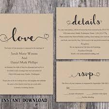 DIY Burlap Wedding Invitation Template Set Editable Word File Download Printable Rustic Heart