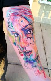 Bright Colored Alluring Women Face Water Color Ink Sleeve Tattoo For Men