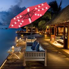 Solar Led Patio Umbrella by Solar Powered 32 Led Lighted Outdoor Patio Umbrella With Crank And