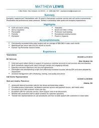 Telemarketing Resume Template Examples Infografika
