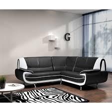canape blanc noir spacio canapé d angle fixe simili 4 places 143x143x43cm noir et