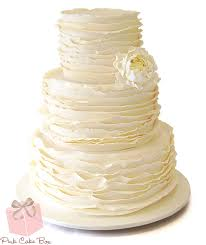 Elegant Ruffled Wedding Cake With Single Peony