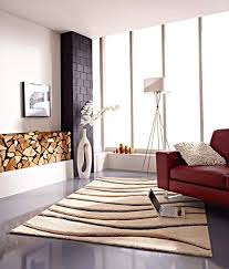 teppich modern design musterteppich webteppich kurzflor wohnzimmer esszimmer gästezimmer wellen design creme braun 3 d effekt komplett