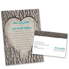 Rustic Wedding Invitations Carved Heart Invitation With Free Response Postcard