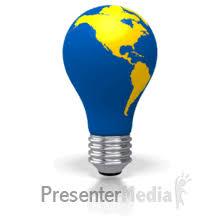 light bulb world map revolution