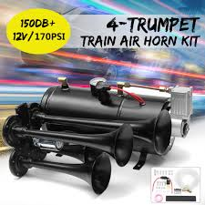 Black Truck Train Quad 4 Trumpet Air Horn Kit 170 PSI 150DB 12V ... Voluker 4 Trumpet Train Air Horn Kit150db Loud Compressor Amazoncom Iglobalbuy Super 12v Dual 150db Truck Mega Single Kit W Dc 12v Emergency Fire Ftkit Horns Of Texas Mirkoo Twin Tone Chrome Plated Air Horn Kit Diesel Pinterest Trucks Chevy Car Boat 117 Wolo Mfg Corp Air Horns Horn Accsories Comprresors Pcwizecom Truhacks Triple Boss Suspension Shop Kits Model Hk2 Kleinn Mpc M1 Review Best Unbiased Reviews