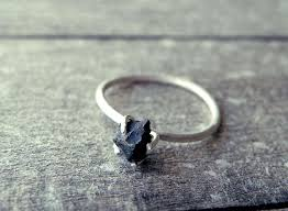 Black Onyx Ring Stacking Alternative Wedding Diamond Raw Stone Promise Goth Dainty Rough Rustic