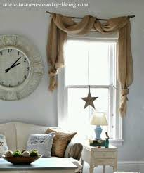 Country Decorating Style In A Farmhouse Family Room Burlap SwagBurlap ValanceBurlap Kitchen CurtainsCurtains