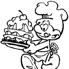 Funny Download Chef Smurf Making Delicious Cake Coloring Pages Or
