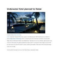 104 The Water Discus Underwater Hotel Doc Planned For Dubai Muqaddas Iqbal Academia Edu