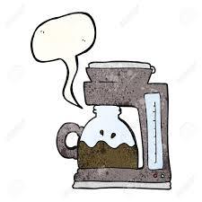 Freehand Speech Bubble Textured Cartoon Coffee Filter Machine Stock Vector