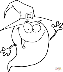 Click The Halloween Ghost Wearing A Witch Hat Coloring Pages