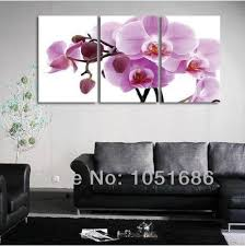 Handmade Modern Impressionist 3 Panel Set Orchid Flower Oil Paintings Canvas Wall Art Floral Picture Home Decoration No Frame