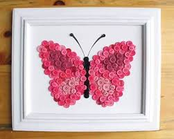 This Butterfly Craft Is Made Using Buttons Of Different Colors And Sizes Firstly Design The Shape A On Frame Then Attach
