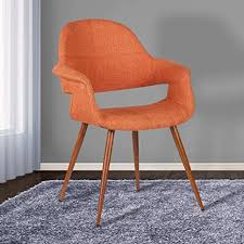 armen living lcphsiwaor phoebe esszimmerstuhl in orange stoff und walnuss holz finish
