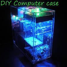 DIY Transparent Computer Case Acrylic ATX Mid Tower Water Cooling Gaming