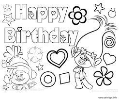 Coloriage Bonne Fete Happy Birthday Poppy Trolls JeColoriecom