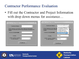 Ky Transportation Cabinet Forms by Kentucky Transportation Center Contractor Performance Evaluations
