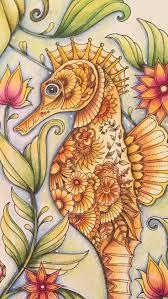 Seahorse Lost Ocean Johanna Basford Coloured By Ness Butler