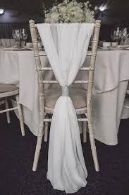 White Chiffon Wedding Chair Decor And Silver Tie ChairIdeas ChairWedding