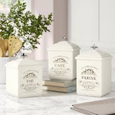 Ceramic Kitchen Canister Sets Parisian Themed Ceramic Kitchen Canister Set Of 3
