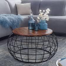 wohnling couchtisch sheesham massivholz metall 77 x 40 x 77 cm wohnzimmertisch rund massiv braun sofatisch modern holztisch tisch wohnzimmer