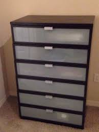ikea hopen 6 drawers chest black brown frosted glass furniture