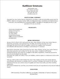 Day Care Center Direc Child Resume Examples As Cover Letter