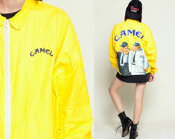 Tyvek Jacket CAMEL CIGARETTES 90s Windbreaker Camel Joe Smoker Thin Plastic Coat Bright Vintage Hipster Smoking
