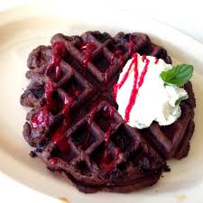Dark Waffle W/ Lemon Mint Mascarpone Creme And A Strawberry Couli - Yelp