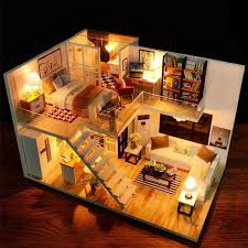 DIY Loft Apartments Dollhouse Wooden Furniture LED Kit Christmas