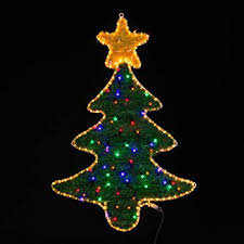 Christmas Tree LED Outdoor Rope Light Silhouette With Tinsel By Lights4fun