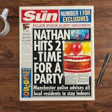 The Sun Personalised Spoof Newspaper Article Birthday
