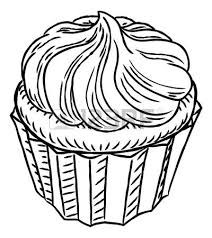 A cupcake hand draw in a retro vintage woodcut engraved or etched style Vector