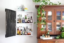 No Room For A Bar Cart In Your Home Build This Wall Mounted Liquor