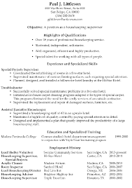 Creative Hospital Housekeeping Supervisor Resume Sample About