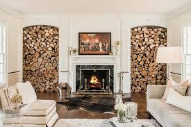 brennholz lagern funkenschutz ideen wohnzimmer gestalten