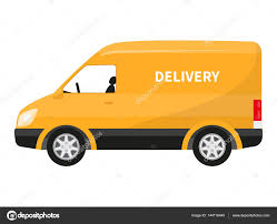 Vector Flat Icon Cartoon Yellow Delivery Truck — Stock Vector ...