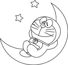 Doraemon Sleep On Moons Coloring Pages