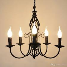 European Iron Candle Living Room Chandeliers Vintage Dining Lights Simple Study Lamp Pulley Pendant Light Cool