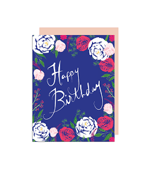 Peonies and Roses Happy Birthday Note Card $4 50