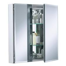 Framed Oval Recessed Medicine Cabinet by Kohler Double Door 25 In W X 26 In H X 5 In D Aluminum Cabinet