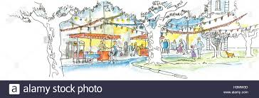 A Watercolor Illustration of a Street Food Festival in a friendly Neighborhood