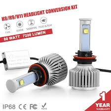 12v 80w 7200lm led cree headlight h11 h8 h9 car beam bulbs 6000k