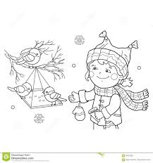 Royalty Free Vector Download Coloring Page Outline Of Cartoon Girl Feeding Birds